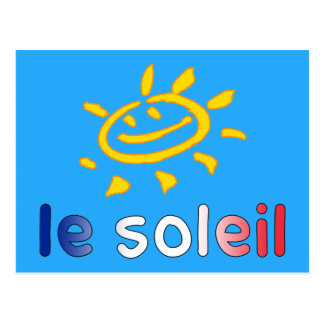 Le Soleil The Sun in French Summer Vacation Postcard