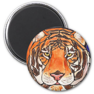 """""""Le Tigre"""" The Tiger Stained Glass Style Art! 2 Inch Round Magnet"""