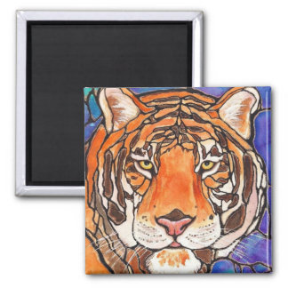"""""""Le Tigre"""" The Tiger Stained Glass Style Art! 2 Inch Square Magnet"""