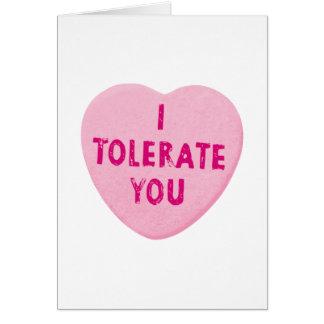 Le tolero caramelo del corazón del el día de San Tarjeta De Felicitación