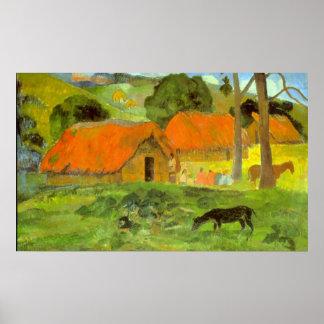 Le Trois Huttes de Eugène Enrique Paul Gauguin Póster