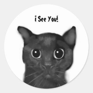 ¡Le veo! Pegatina del gato negro de Jin-Jin