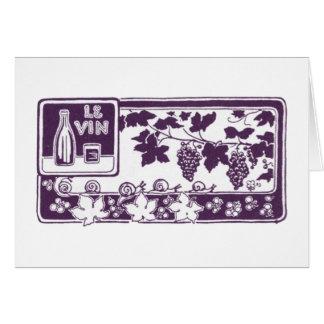 Le Vin Vintage Wine Label Greeting Card