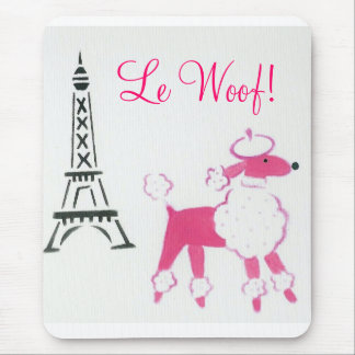 Le Woof! Pink Poodle in Paris Mouse Pad
