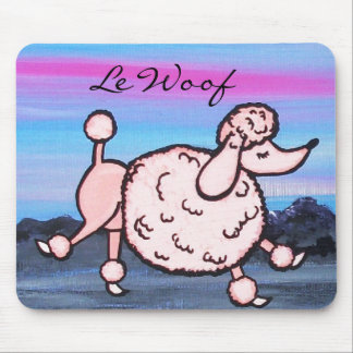 Le Woof Pink Poodle in Paris Mouse Pad