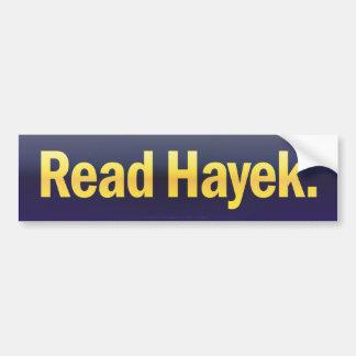 Lea a la pegatina para el parachoques de Hayek Pegatina De Parachoque