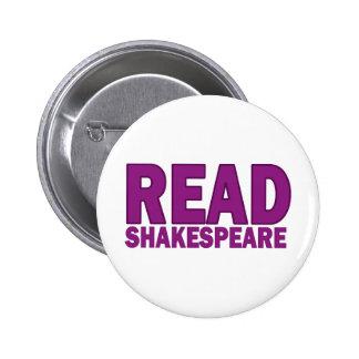 Lea a Shakespeare Pin Redondo De 2 Pulgadas