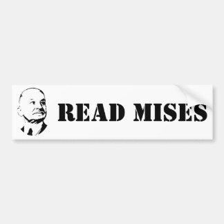 Lea al economista del austriaco de Ludwig von Mise Pegatina Para Auto
