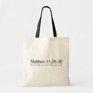 Lea el 11:28 de Matthew de la biblia - 30 Bolsa Lienzo
