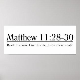 Lea el 11:28 de Matthew de la biblia - 30 Póster