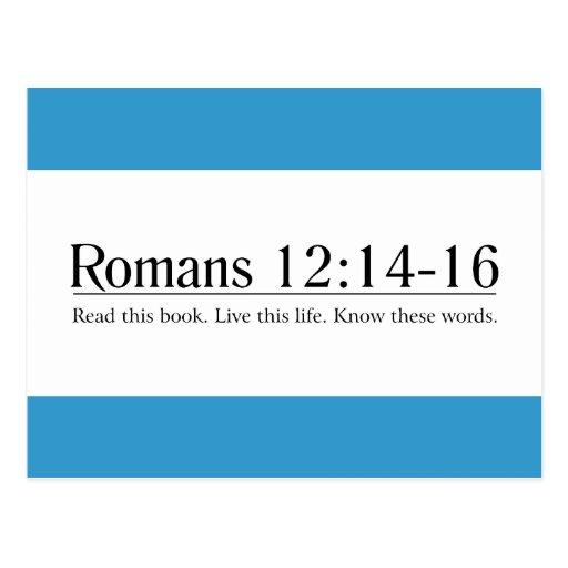 Lea el 12:14 de los romanos de la biblia - 16 tarjetas postales