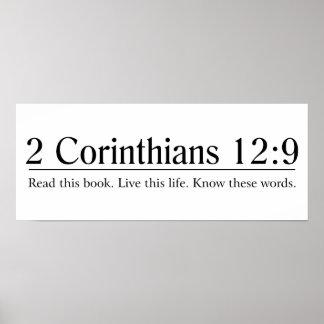 Lea el 12:9 de los Corinthians de la biblia 2 Póster