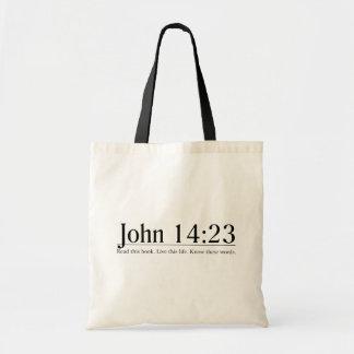 Lea el 14:23 de Juan de la biblia Bolsas