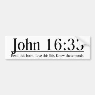 Lea el 16 33 de Juan de la biblia Pegatina De Parachoque