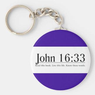 Lea el 16:33 de Juan de la biblia Llavero Redondo Tipo Pin