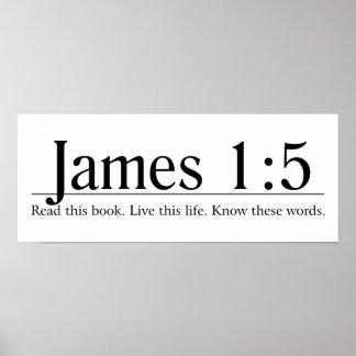 Lea el 1:5 de James de la biblia Póster