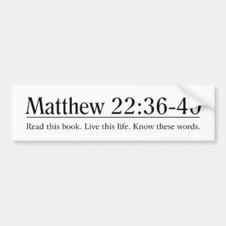 Lea el 22:36 de Matthew de la biblia - 40 Pegatina De Parachoque