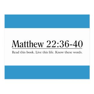 Lea el 22:36 de Matthew de la biblia - 40 Tarjeta Postal