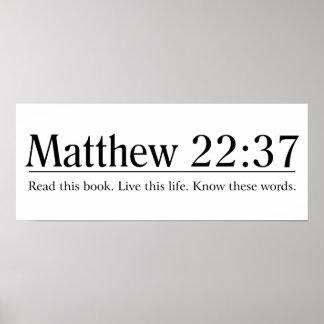 Lea el 22:37 de Matthew de la biblia Póster