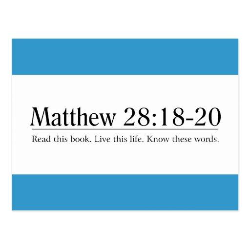 Lea el 28:18 de Matthew de la biblia - 20 Tarjetas Postales