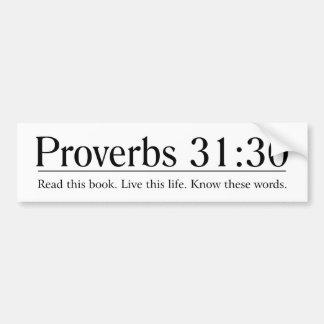 Lea el 31:30 de los proverbios de la biblia pegatina para auto