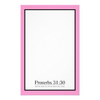 Lea el 31:30 de los proverbios de la biblia personalized stationery