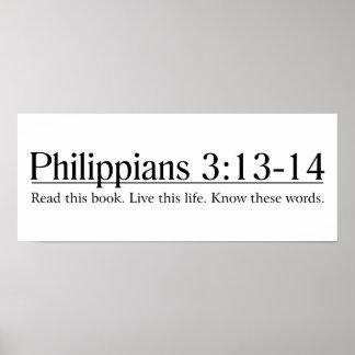 Lea el 3:13 de los filipenses de la biblia - 14 póster