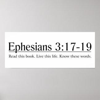 Lea el 3:17 de Ephesians de la biblia - 19 Póster
