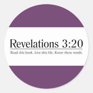 Lea el 3:20 de las revelaciones de la biblia pegatina redonda