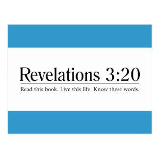 Lea el 3:20 de las revelaciones de la biblia postales