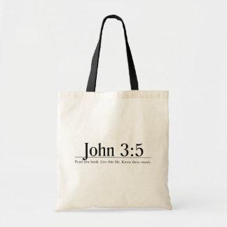 Lea el 3:5 de Juan de la biblia Bolsa