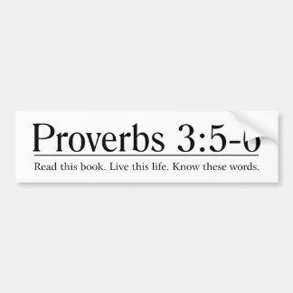 Lea el 3 5 de los proverbios de la biblia - 6 pegatina de parachoque
