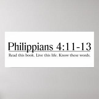 Lea el 4:11 de los filipenses de la biblia - 13 póster