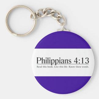 Lea el 4:13 de los filipenses de la biblia llavero redondo tipo pin