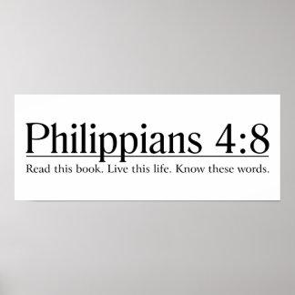 Lea el 4:8 de los filipenses de la biblia póster