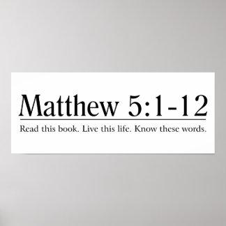 Lea el 5:1 de Matthew de la biblia - 12 Póster