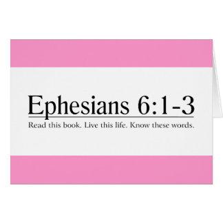 Lea el 6:1 de Ephesians de la biblia - 3 Tarjeton