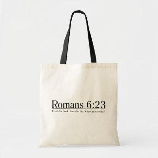 Lea el 6:23 de los romanos de la biblia bolsa tela barata