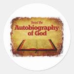 Lea la autobiografía de dios etiqueta redonda