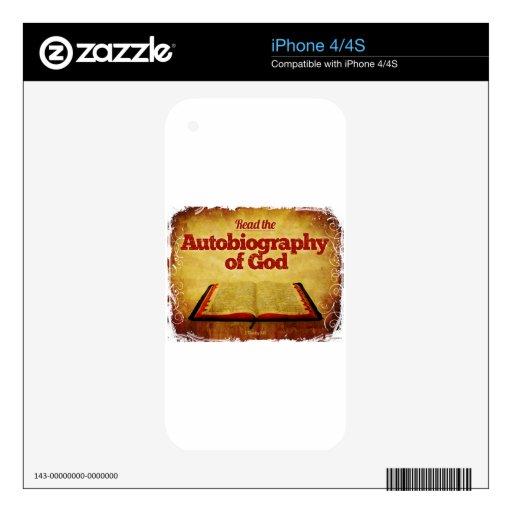 Lea la autobiografía de dios calcomanías para iPhone 4