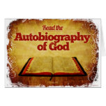 Lea la autobiografía de dios tarjetón
