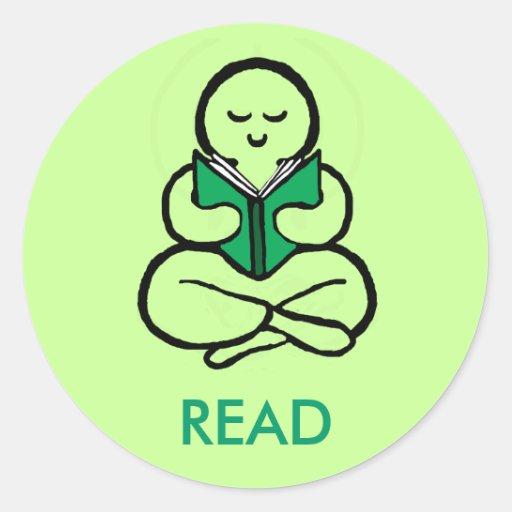 Lea la versión verde pegatinas redondas