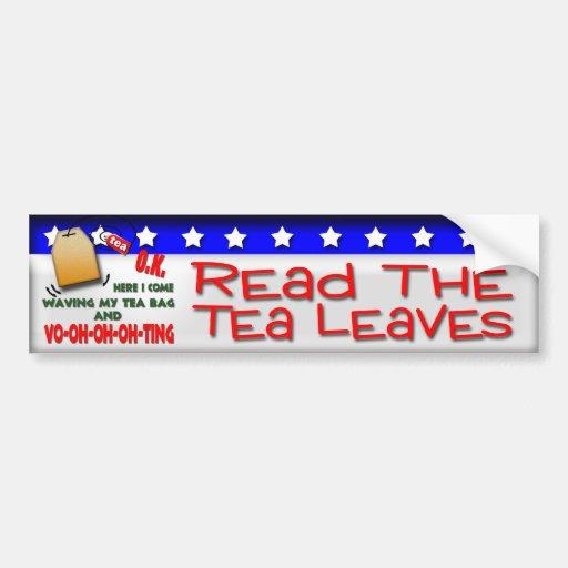 Lea las hojas de té pegatina de parachoque