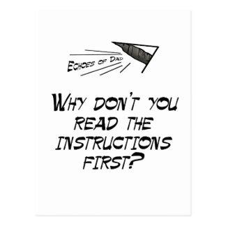 Lea las instrucciones tarjeta postal