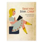 Lea su biblia, niño postal