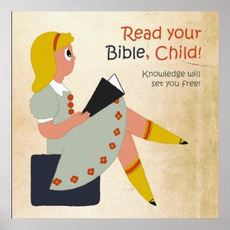 Lea su biblia, niño póster