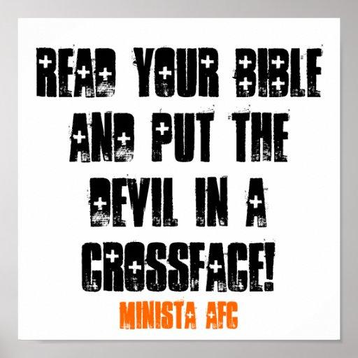 LEA SU BIBLIA Y PONGA AL DIABLO EN UN CROSSFAC… POSTER