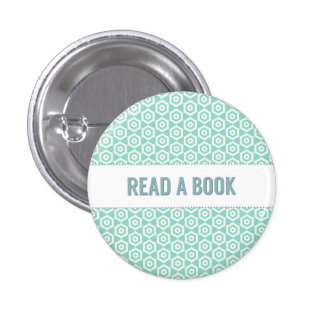 Lea un botón del libro, en la aguamarina pin redondo de 1 pulgada