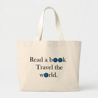 Lea un viaje del libro el mundo bolsa tela grande