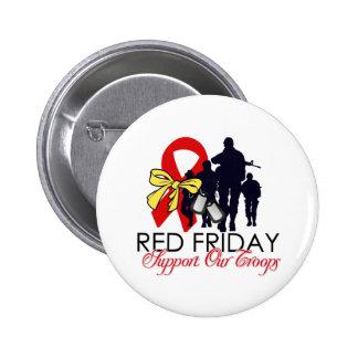 Lea viernes - apoye a nuestras tropas pin redondo de 2 pulgadas